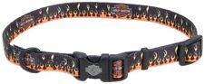 COLLAR PETS ADJUSTABLE HARLEY DAVIDSON NYLON MIDDLE SIZE DOG GIFT BIKER FLAME HD