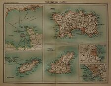 1898 LARGE VICTORIAN UK MAP : THE CHANNEL ISLANDS JERSEY GUERNSEY ALDERNEY CITIE