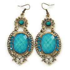 Victorian Style Light Blue  Acrylic Bead, Crystal Chandelier Earrings In Antique