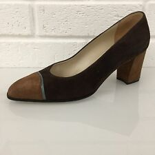 Ladies Shoes Size 3.5 E Shades Of Brown Teal BALLY 100% Suede GORGEOUS