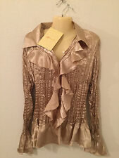 DU JOUR LARGE NEW NWT GOLD HOLIDAY CRINKLED RUFFLE BLOUSE TOP QVC