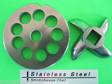 """Size #8 x 1/2"""" meat grinder PLATE & KNIFE for manual or electric fits LEM etc"""