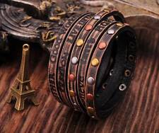 HUMANITY 5 Wraps Distressed Genuine Leather Bracelet INSPIRING PHRASES Black