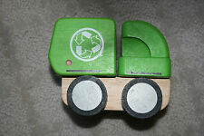 Plan Toys Mini Green Garbage Recycling Truck Wooden