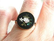 antique Victorian PIETRA DURA ring 9ct GOLD setting ~ beautiful ~