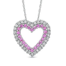Pink Sapphire & Diamond Accent Heart Pendant with chain in Sterling Silver