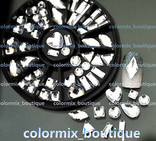 #R58 Nail Art Tips Accessories 8 Style Clear White Glitter Rhinestones+Wheel