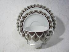 3-teiliges Kaffeegedeck ESCHENBACH VENEDIG Perlrand Weiß Braun Grau