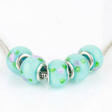 5pcs Blue MURANO silver plated glass bead LAMPWORK fit European Charm Bracelet