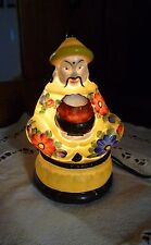 ANTIQUE Hand-Painted Yellow & Flowers ASIAN MAN Perfume LAMP Germany 5818