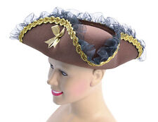 TRICORN #BROWN HAT WITH GOLD EDGING PIRATE LADY FANCY DRESS COSTUME ACCESSORY