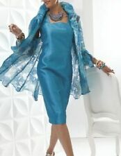 NWT$189 ASHRO Bright Blue Silky Women Cocktail Party Dress Jacket Set Suit Sz 12
