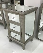 Moc Croc Embossed Mirrored 3 Drawer Bedside Table/ Cabinet