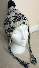 GANT WOOL BLEND FAIR ISLE/NORDIC BOBBLE HAT WITH EAR FLAPS & TAILS BNWT