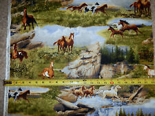 Running Wild Horse Horses Scene Nice Quilting Treasures 23736-X cotton fabric
