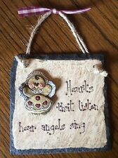 Hearts Angels Decorative Slate Hanging Wall Picture Plaque