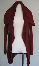 NEW SHAE Anthropologie  Adjustable Hoodie Burgundy Red Cardigan Sweater Medium M