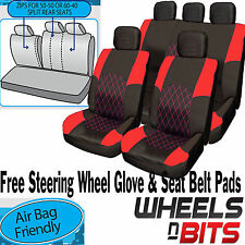 Honda Jazz CRV CRX RED & BLACK Cloth Car Seat Cover Full Set Split Rear Seat