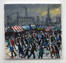 NORTHERN ART JAMES DOWNIE ORIGINAL OIL PAINTING 'MARKET PLACE' TOWN IN WINTER