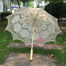 New Ivory Lace Cotton Embroidery Wedding Umbrella Sun Parasol Bridal Accessory