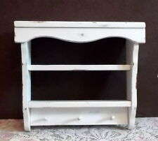 Wood Wall Shelf Curio 2 Shelves Pegs White Cottage Farmhouse Rustic