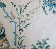 BRUNSCHWIG & FILS River Song Aqua Green Chinoiserie Glazed Cotton France New
