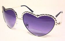 Heart Shape Sunglasses Silver Metal Frame  Gradient Lens 100% UV Protection