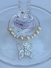 20 Ivory Wine Glass Charms With Butterflies. Wedding, Favours, Christening,party
