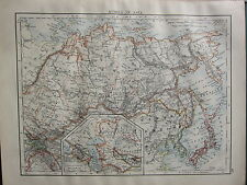 1900 VICTORIAN MAP ~ RUSSIA IN ASIA CHINESE EMPIRE JAPAN TOMSK SIBERIA TURKESTAN