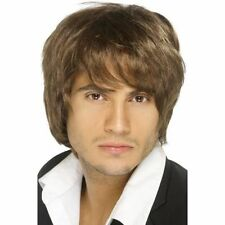 Mens 90's Brown Boy Band Wig Fancy Dress Costume Pop Music Theme Long Fringe