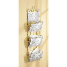 CLASSIC WHITE LETTER ORGANIZER WALL HANGING MAIL BIN SHABBY ELEGANCE