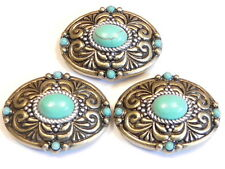3 - 2 HOLE SLIDER BEADS BRASS SILVER SWIRLED WESTERN CONCHO FAUX TURQUOISE CABS