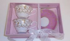 NEW GRACE'S TEAWARE 4 PC SET PINK WITH FLORAL GOLD ACCENT 2 TEACUP+2 SAUCER+BOX