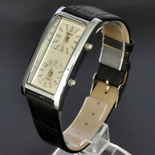 SOKI Womens Beige Dial Double Timezone Analog Quartz Casual Leather Band Watch