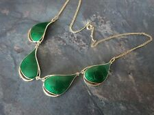 Attractive Norwegian Sterling Silver & Green Enamel Necklace -  Ivar Holt Norway