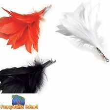 BURLESQUE RED FEATHER HAIR CLIP Womens Ladies Fancy Dress Costume Accessory
