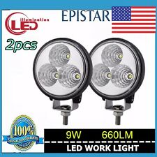 2pcs 9W Circle LED  Work Light Flood  Driving Lamp Offroad Truck SUV ATV 4WD 4X4