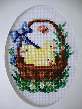 """COMPLETED FINISHED CROSS STITCH CARD """"DARLING EASTER CHICKS IN A BASKET"""""""