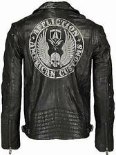 GENUINE AFFLICTION REBORN HAND NUMBERED BLACK LEATHER JACKET STUDS XL XXL NWT