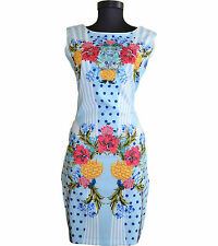 Mujer De Las Señoras Noche Cóctel Fiesta vestido floral elegante de una línea de Rodilla Talla 14 L AX5