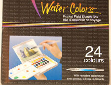 Sakura Koi 24 Fine Water Colors Pocket Field Sketch Box w/ Waterbrush XNCW-24N