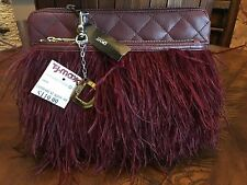NWT Stunning Donna Karan Burgundy Leather Mixed Material Feather Clutch R $238