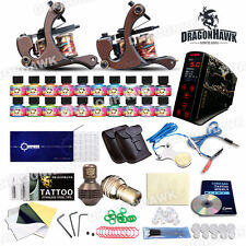 TOP PRO LEVEL Digital Tattoo Kit Machine 2 Damascus steel Handmade Guns 20 Inks
