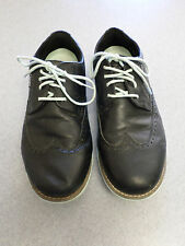 TRUE Linkswear black leather wingtips, spikeless golf shoes, Men's 9.5 M