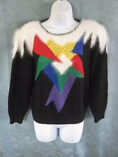 """Vintage Lauren Cole Petites Sweater Size Small Abstract """"New Wave"""" Peekaboo Area"""