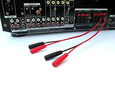 2 Channel BANANA FEMALE PLUG to SPEAKER WIRE Amp Receiver Powered Speakers 18G8""