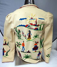 Vintage Womens Embroidered White Wool Jacket Mexican Southwestern Tunic Small 34