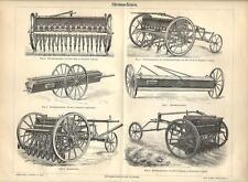 Stampa antica MACCHINE AGRICOLE SEMINATRICI semina 1890 Old antique print