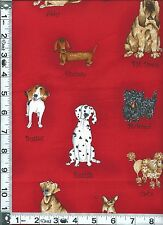 Fabric Kaufman Catberry Dogs Poodle Chihuahua Scottie dachshund red fat quarter