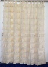 French Shabby Chic Curtains Ruffled Ivory / Cream Girls Room Tab Top 110x220cm